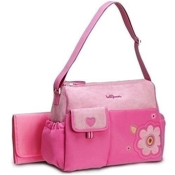 Pink Heart & Flowers Applique Diaper Tote