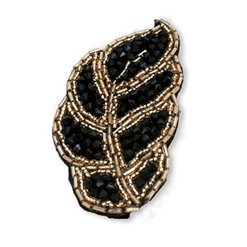 Mia Handmade Beaded Leaf Shaped Clip-Black And Antique Silver Color Beads-Measures 4