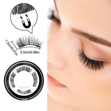 MeBueTee Dual Magnetic False Eyelashes 3D Fiber Reusable Natural Wispy Lashes Fake Eyelash Extensions-Long Bushy Magnetic Handmade Length:12MM 1Pair(4Pieces)+Eyelash Curler