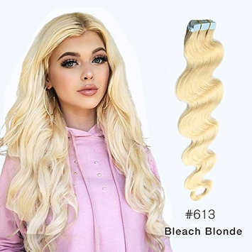 Body Wave Tape in Hair Extensions Remy Human Hair Wavy Glue in Extensions Seamless Skin Weft Tape in Hair Extensions Bleach Blonde (#613) 22