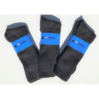 Big Tall XL 100% Cotton Black Diabetic Crew Socks
