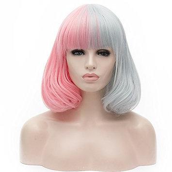 Amback Short Bob Wigs for Women Flat Bangs Mixed Lolita Cosplay Wig Cap