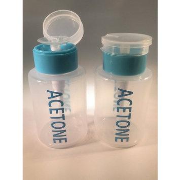Beauticom 6 Oz Blue Push Down Acetone Labeled Bottle Dispenser (Quantity: 2 Pieces)