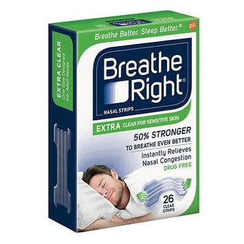 Breathe Right Nasal Strips, Extra Clear for Sensitive Skin 26 ea(pack of 6)