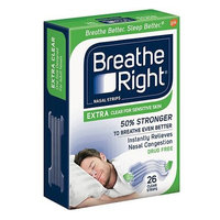 Breathe Right Nasal Strips, Extra Clear for Sensitive Skin 26 ea(pack of 3)