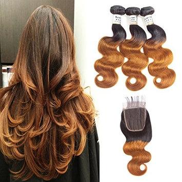"Baiermei Hair Ombre Brazilian Virgin Hair Extensions Body Wave 3 Bundles With 4x4 Lace Closure Two Tone T1B Brown Human Hair Weave Bundles (10""12"