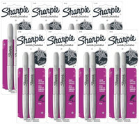 Sharpie Permanent Markers Non Toxic Fine Point Metallic Silver 16 Markers (Pack of 8)