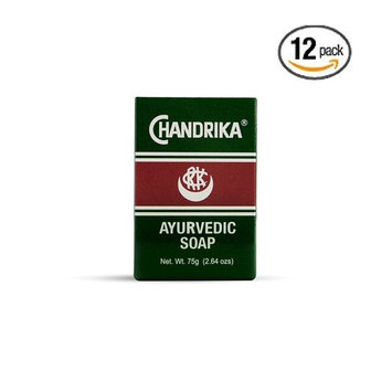 Chandrika Bath and Body Ayurvedic Bar Soap, 2.64 oz (Pack of 12)