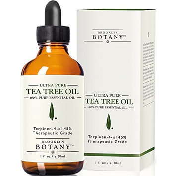 Tea Tree Oil (Australian) - Brooklyn Botany - 100% Pure with 45% terpinen-4-ol, 1 fl. oz - Helps fight Lice, Acne, Toenail Fungus, Dandruff, Yeast Infections, Cold Sores...