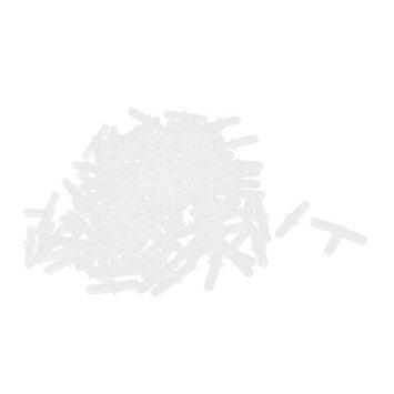 Aquarium Tanks 2.5mmx5mm Tube Tee Straight Shape Air Valves White 120 Pcs