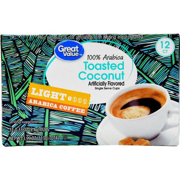Great Value Toasted Coconut Coffee Single Serve Cups, Light Roast, 12 Count