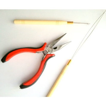 3 Pc Kit for Micro Ring Link Hair and Feather Extensions: Pliers, Micro Pulling Needle, and Loop Threader plus BONUS