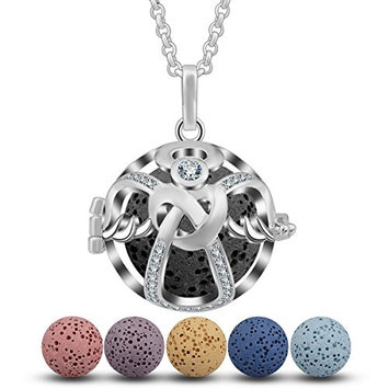 INFUSEU CZ Guardian Angel Aromatherapy Necklace Essential Oil Diffuser Locket Cross Heart Cage Pendant Jewelry with 5 PCS Lava Rock Stone and 24