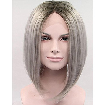 2 Tones Ombre Grey Lace Front Bob For Women Dark Roots Short Straight Synthetic Wig Gray Glueless Heat Resistant Fiber Hair Half Hand Tied