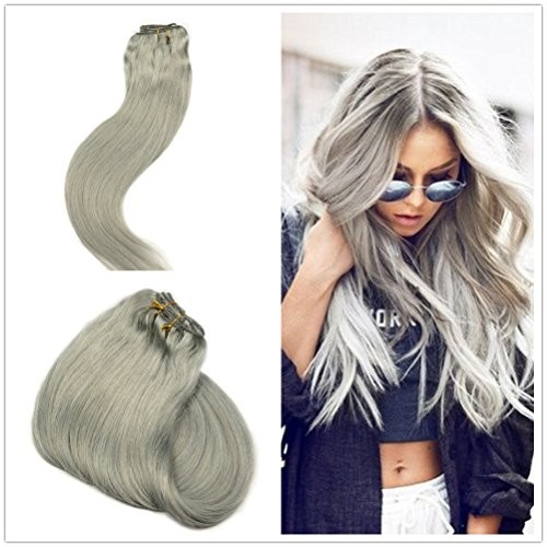 Alizée Clip in Human Hair Extensions Grey Silver Color Dye Silky Straight Real Human Hair Products Salon Quality 120g/7pcs 14 inch Short Shoulder Length Clip on For Women []