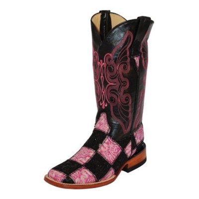 Ferrini Western Boots Womens Patchwork Square Toe Black Pink 81393-20