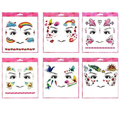 Long lasting and realistic temp tattoo stickers 6pcs mixes kids cartoon face in a packages,including hearts,kisses, rainbow,cloud,butterflies,star face tattoos