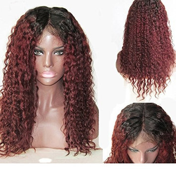 RosesAngel 1B/Burgundy Curly Lace Front Wig for Black Women Brazilian 99J Lace Wig Glueless Curly Human Hair Wig with Baby Hair 16