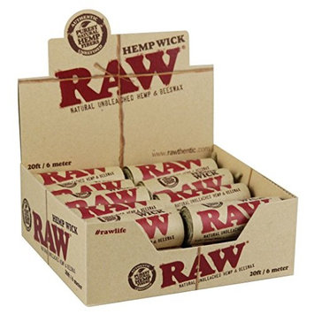20PC DISPLAY - Raw Natural Hemp Wick Rolls - 20ft