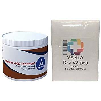 A & D Ointment - 15 oz Jar - Plus 50 Vakly Dry Wipes (1 Jar + 50 Wipes)