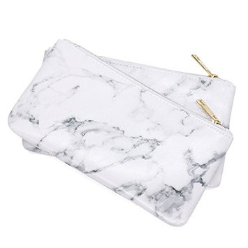 Marble PU Brush Makeup Bag Zipper Closure Marble Handbag Pouch Beauty Make Up Brush Holde Cosmetics Storage Bag Makeup Tool