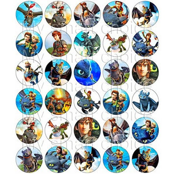 30 x Edible Cupcake Toppers – How to Train Your Dragon Themed Collection of Edible Cake Decorations | Uncut Edible Prints on Wafer Sheet
