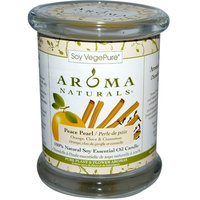 Aroma Naturals, 100% Natural Soy Essential Oil Candle, Peace Pearl, Orange, Clove & Cinnamon, 8.8 oz (260 g) [Scent : Orange, Clove & Cinnamon]