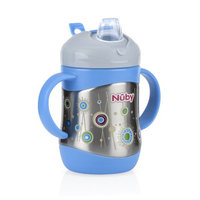 Luv N' Care, Ltd. Nuby 2 Handle Stainless Steel Cup with No Spill Soft Spout, Blue