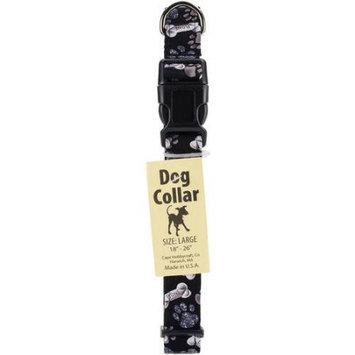 Cape Hobbycraft Large Black Bone Dog Collar W/Welded D-Ring Buckle-Neck Size 18