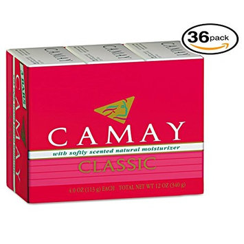 Camay Classic 3 Bath Bars Per Package With Softly Scented Natural Moisturizer (36-Pack, 4.0oz / 113g each Bar, Camay Romantic Red with Natural Moisturizer)