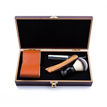 SMITH CHU Professional Classic Men Straight Shaving Razor Kit - Barber Folding Knife/Cut Throat,Japan Stainless Steel and Light Wood Handle - Bristle Shaving Brush,Leather Strop - with Wooden Gift Box