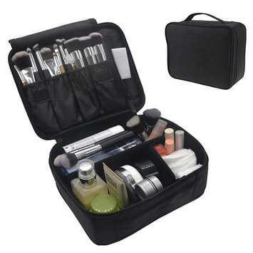 Travel Makeup Bag, FLYMEI Portable Cosmetic Case Organizer Waterproof Mini Makeup Train Case Black
