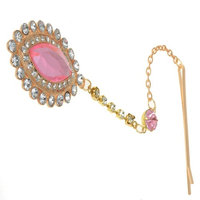 HSF Women's Pink Crystal Bindi Hair Clip Head Jewelry