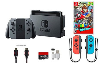Ushopmall & Nintendo Nintendo Switch Bundle (7 items): 32GB Console Gray Joy-con, 128GB Micro SD, Joy-Con (L/R)-Neon Red/Neon Blue, Game Disc Super Mario Odyssey, and Type C Cable