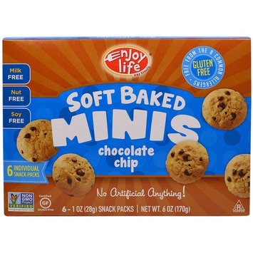 Enjoy Life Foods, Soft Baked Mini Cookies, Chocolate Chip, 6 Snack Packs, 1 oz (28 g) Each [Flavor : Chocolate Chip]