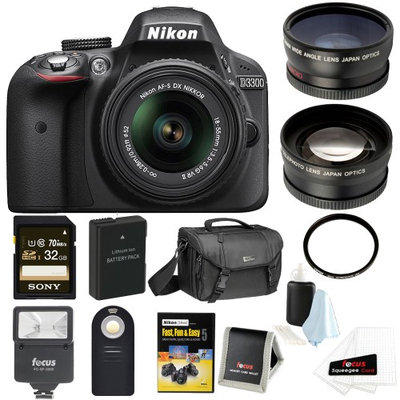 Nikon D3300 DSLR Camera with 18-55mm Lens (Black) and 32GB Deluxe Accessory Kit
