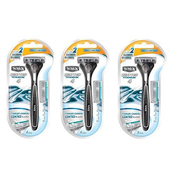 Schick Quattro Razor & Cartridges, Titanium Coated Blades, 1 Razor, 2 Cartridges (Pack of 3) + FREE Schick Slim Twin ST for Sensitive Skin