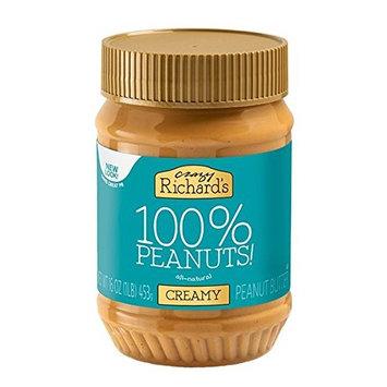 Crazy Richard's Natural Creamy Peanut Butter, 100% Peanuts, Non-GMO, Gluten-Free, Vegan, 16 Ounce Jar