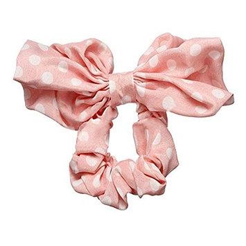 Phoenixb2c Women's Big Rabbit Ear Polka Dot Bow Ponytail Holder Hair Tie Band
