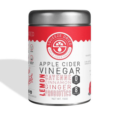 Squeeze Dried Apple Cider Vinegar: Natural Weight Loss, Detox, Inflammation, Digestion & Circulation with Probiotics - 60 Serving Bulk Tin