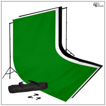 5x10' feet White, Black & Green Muslin with Background Support System and Travel Case for Photo Lighting by Loadstone Studio WMLS0355