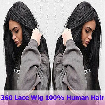 7A 360 Lace Frontal Wigs Silky Straight Glueless Full Lace Human Hair Wigs For Black Women Brazilian Remy Virgin Hair Swiss Lace Front With Baby Hair (12'',Natural Black #1B, 130% Density)