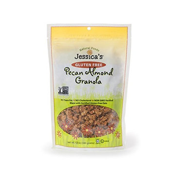Jessica's Natural Foods Gluten Free Pecan Almond Granola 12 oz. - All Natural Granola Non GMO Breakfast Cereal and Snack, Certified Gluten Free - Pecan Almond [Pecan Almond]