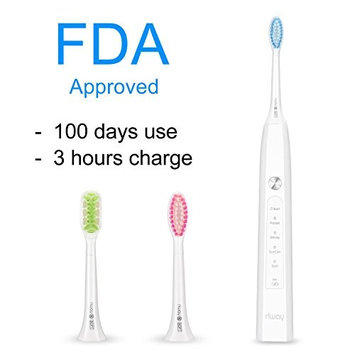 Electric Toothbrush, USB Rechargeable, 5 Modes 3 hours Charging, 100 Days Working, Waterproof 3 Replacement Heads