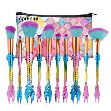 AprFairy 2017 Mermaid Makeup Brushes Set 10pcs with Pink Plaid Makeup Bag Ultra-soft Bristles Face Foundation Beauty Tools Blush Concealer Contouring Make Up Brush Kit - Green Pink Gradient