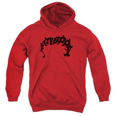 Trevco Boop-Word Hair - Youth Pull-Over Hoodie - Red, Medium [clothing_size_type: clothing_size_type-regular]