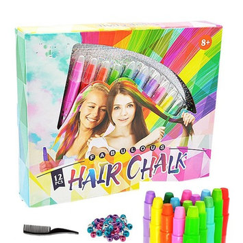 Hair Chalk Set, Kalolary 12 Color Metallic Glitter Temporary Hair Color, No Mess, Built in Sealant, Works on All Hair Colors(Includes 12 hair chalks, 30 flash beads,30 rubber bands,1 comb)