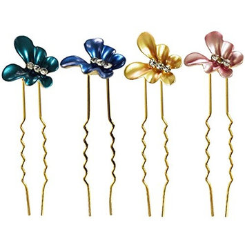 LiveZone 12-Pack Bride Wedding Hair Maker Ornaments Chinese Traditional Style Women Girls Ladies Headdress Butterfly U Shaped Bobby Pins Metal Hair Pins Stick Forks Hair Bow Accessories,Mixed Color