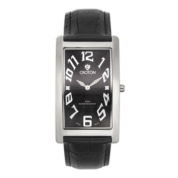 Men's Aristocrat Silvertone Curved Rectangular Stainless Watch with Black Dial & Black Strap