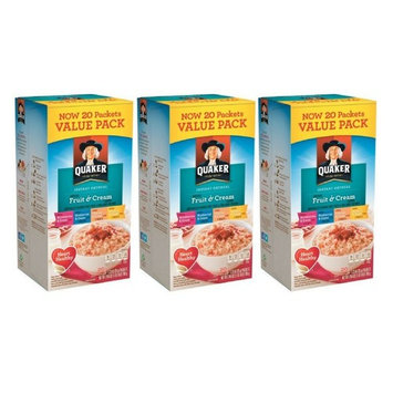 Quaker Fruit & Cream Instant Oatmeal 20 Count Pack (3 pack)